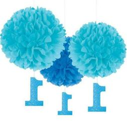 Amscan Party Supplies 1st Birthday Fluffy Decorations w/ Mul