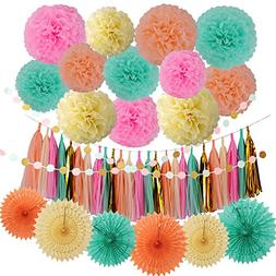 LyButty 45 Pcs Party Supplies Decorations Kit,Tissue Paper P