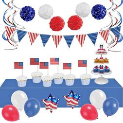 Patriotic Decorations - 34 American Flag and Red White Blue