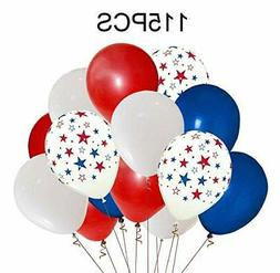 Moon Boat Patriotic Decorations Star Latex Balloons - Red Bl
