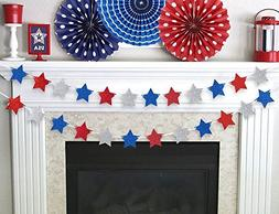 Moon Boat Patriotic Fourth of July Glitter Star Garland Ribb