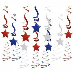 Patriotic Stars Hanging Decorations Party Holiday Red Blue S