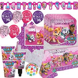Girl Paw Patrol Party Supplies and Decorations Pack for 16 W