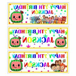 PERSONALISED KIDS COCOMELON BIRTHDAY PARTY BANNER PARTY WALL