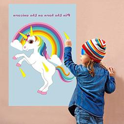 OurWarm Pin The Horn on The Unicorn Party Game for Kids Birt