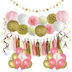 Litaus Pink and Gold Birthday Decorations, Party Decoration