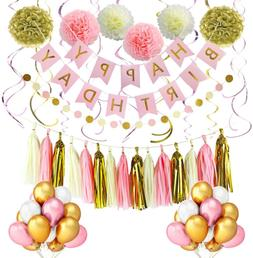 LITAUS Pink and Gold Birthday Decorations, Party Decorations