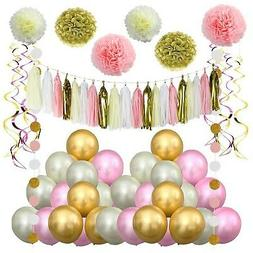 LITAUS Pink and Gold Birthday Decorations, Pom Poms Flowers
