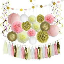LITAUS Pink and Gold Birthday Decorations, Pom Poms Flowers,