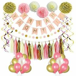 LITAUS Pink and Gold Birthday Party Decorations, balloons, P