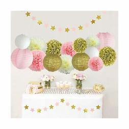 LITAUS Pink and Gold Birthday Party Decorations, Tissue Pom