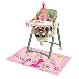 Pink 1st Birthday High Chair Decorating Kit, 4pc
