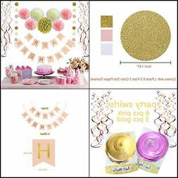 Pink and Gold Birthday Decorations, Pom Poms Flowers Kit ,Ha