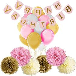 Paxcoo Pink and Gold Birthday Decorations with Happy Birthda