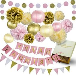 31 Pcs of Pink Gold and Cream Birthday Party Decoration Set
