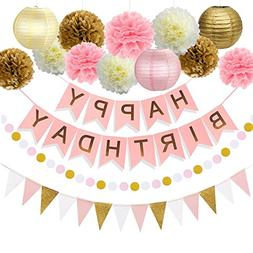 29PCs of Pink Gold and Cream Birthday Party Decorations Set