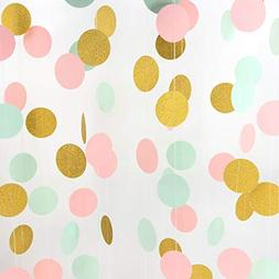 Pink and Gold Hanging Paper Garlands Decorations Mint Green