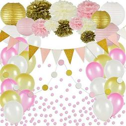 Pink and Gold Party Decorations, 50 pc Pink Party Supplies,