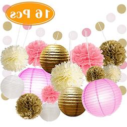 Paxcoo 16 Pcs Pink and Gold Party Supplies with Paper Lanter