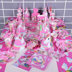 Pink Unicorn Girls Theme Tableware Favor Kids Birthday Party
