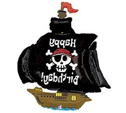 Betallic Pirate Ship Shaped Jumbo Foil Balloon