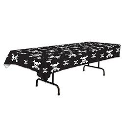 Beistle Pirate Tablecover, 54 by 108-Inch, Black/White