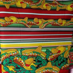 POLY POPLIN MEXICAN PRINT FABRIC STRIPE GREEN PARTY THEME RE