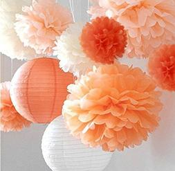 "Life Glow Pom Poms 12Pcs of 10"" 12"" 14"" Multi-Colors Tissue"