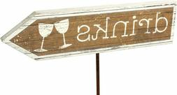Primitives By Kathy Wedding Stake Sign DRINKS Rustic Country
