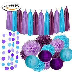 Paxcoo 29 Pcs Purple and Blue Party Decorations with Tissue