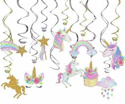 Purple, Gold, Silver Hanging Unicorn Birthday Party Decorati
