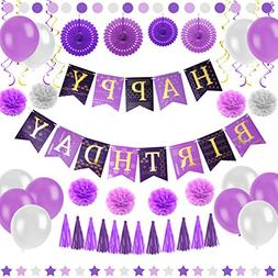Purple Happy Birthday Party Decorations - Supplies Set for A