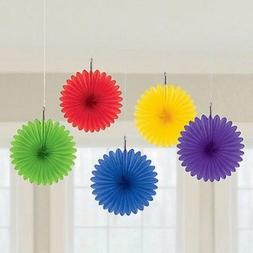 "Amscan Radiant Rainbow Mini Hanging Fan, 6"", Multicolor"