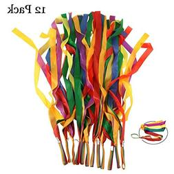 Rainbow Dance Ribbons, LANREN 12PCS Rhythm Ribbon Streamers