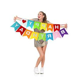 Rainbow Happy Birthday Party Banner Decorations for Kids Spa