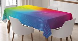 Ambesonne Rainbow Tablecloth, Vibrant Neon Colors Circles Ro