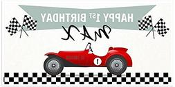 Red Vintage Race Car Checkered Flag Racing Custom Party Deco
