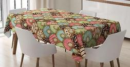Retro Tea Party Tablecloth by Ambesonne 3 Sizes Rectangular