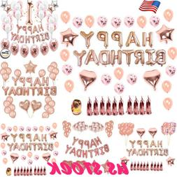 Rose Gold Balloon Set Latex Foil Decorations Kit Happy Birth