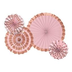 ROSE GOLD BLUSH PAPER FAN DECORATIONS  ~ Wedding Birthday Pa