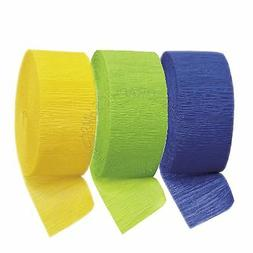 Royal Blue Lime Yellow Crepe Paper Streamers,Childrens Party