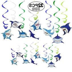 Shark Decorations Party Supplies 32 Pieces Shark Hanging Swi