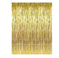 Set of 2 Shiny Gold Metallic Foil Fringe Door & Window Curta