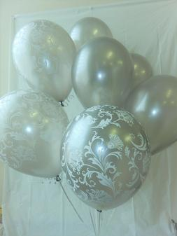 Silver Balloons Damask, Latex ,Shower Decorations,Anniversar
