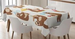 Sloth Tablecloth Ambesonne 3 Sizes Rectangular Table Cover D