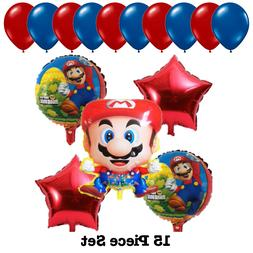 Super Mario Foil Kids Birthday Party Balloons Bouquet Set Su