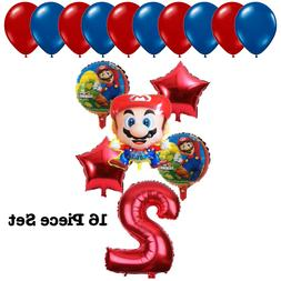 Super Mario Kids 2nd Birthday Party Balloons Bouquet Set Sup
