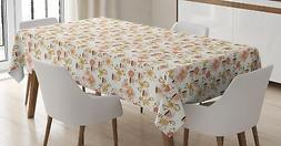 Tea Party Tablecloth Ambesonne 3 Sizes Rectangular Table Cov