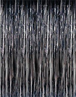 ShinyBeauty Tinsel Foil Fringe Curtain-3FTX6FT-Black Door Wi