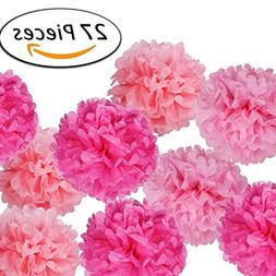 PAXCOO 27 pcs Tissue Paper Pom Poms Flowers for Valentine's